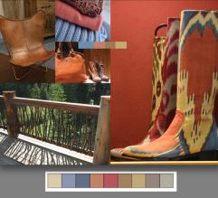 """Para un estilo mas rustico y """"gastado"""" tienes la paleta Rugged Individuals. Esta combinación de colores se inspira por los cowboys y gauchos, e incluye mayormente tonos marrones. Para darle contraste, se usan los azules y rojos. Esta paleta esta llena de textura, así que úsala para darle variedad a tu decoración."""