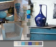 Surface Treatments es una paleta con mucha textura. Estos colores mezclan polos opuestos: suaves colores del mar como el celeste, con colores porosos como los tierra. El bronce le agrega otra dimensión y mas variedad.