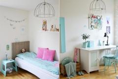 El celeste en distintas gamas es una decisión acertada para un dormitorio femenino; es delicado y no agota visualemente.