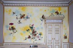 Pintura de Katrine Ærtebjerg en el office contiguo a la sala de lectura y música