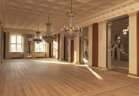 Amplia vista del salón de banquetes, una de las habitaciones destinadas a recepciones