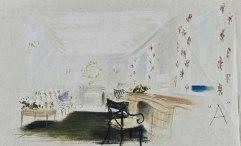 Boceto del escritorio de la reina.