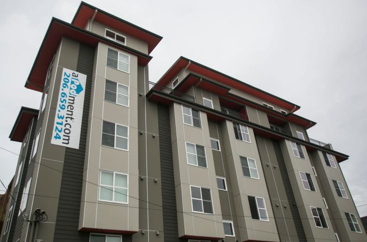 The Strada aPodment building which houses low cost micro apartments in Seattle, Washington.