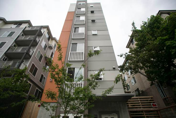 The Element 10 Mini-Suites, a microhousing unit that houses 36 residents in the First Hill neighborhood in Seattle, Washington.