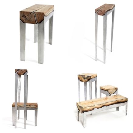 Muebles de troncos y aluminio por Hilla Shamia
